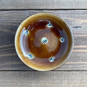 4寸皿一枚焼き/飴釉蝋抜き