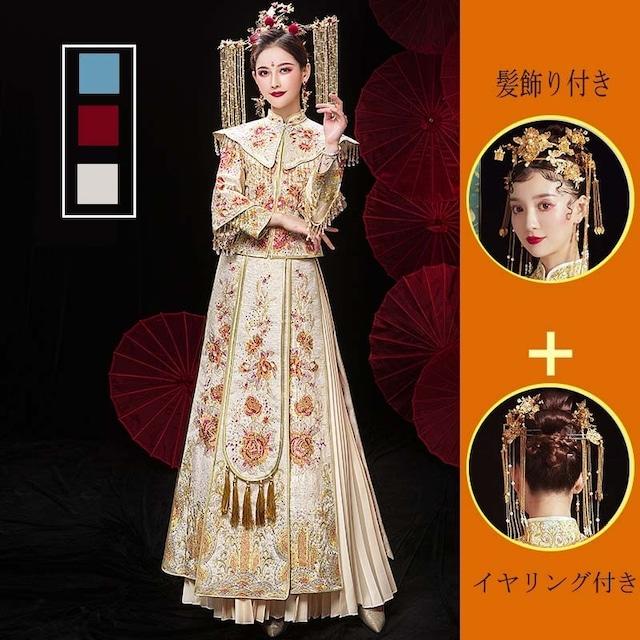 チャイナ風ウエディングドレス 人工ダイヤモンド加工済み 3色 XS~6L
