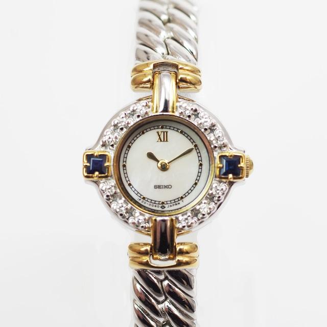 SEIKO セイコー エクセリーヌ 1F20-OB60 ホワイトシェル レディース 腕時計