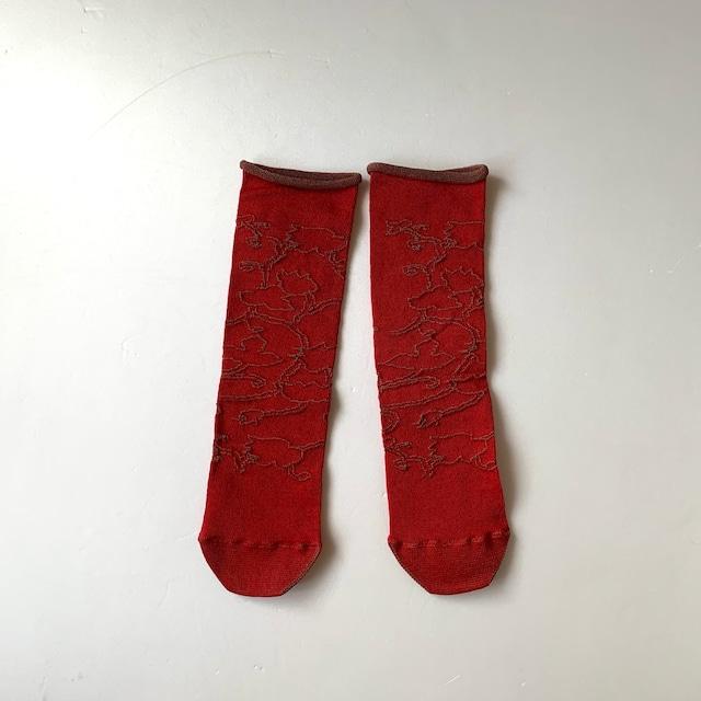 かかとのない靴下 【つつした x pink india】| red |