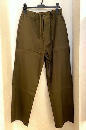 Gristone-W Cotton×Nylon Gabardine Baker Wide Pants Olive