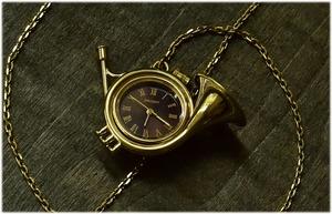 """【ビンテージ時計】1970年ごろ製造 日本製 オリエント社楽器シリーズ""""ホルン"""" ペンダント時計 140740"""