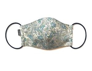 【新作レディース 夏用デザイナーズマスク COOLMAX使用 日本製】花柄ペイズリーマスク ブルー色