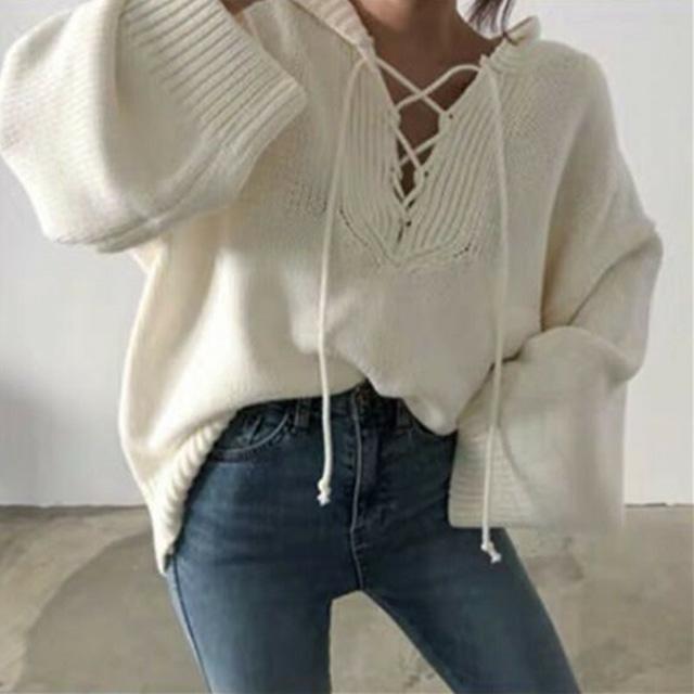 【トップス】カジュアル長袖スピーカースリーブボウタイフード付きセーター43011246