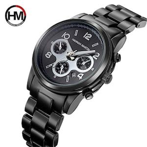 クラシック女性ローズゴールドトップブランド高級レイドドレスビジネスファッションカジュアル防水時計クォーツカレンダー腕時計1038 Black