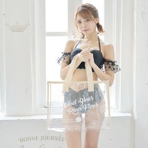 【訳ありアウトレット品】折り畳める☆透明ビーチバッグ☆