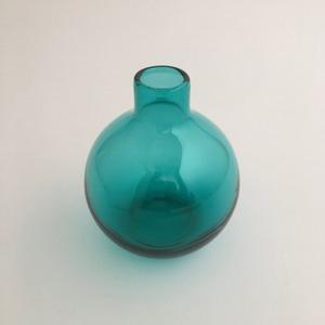 丸いガラスの花瓶(ターコイズ)|Round Glass Flower Vase(Turquoise)