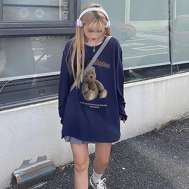 【トップス】ストリートファッションルーズラウンドネック長袖プリントコット100%Tシャツ53900224