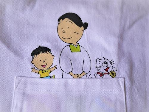 日本郵船 サザエさん割ぽう着白 子ども用エプロン タラちゃんとタマ