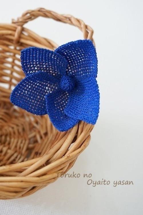 イーネオヤ スターフラワーのブローチ ブルー系:NaBr1-ST6