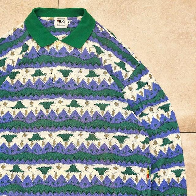 90s FILA golf geom. border polo shirt