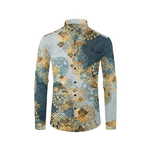 家紋装飾 褐返月白色 ユニセックスサイズ長袖シャツ