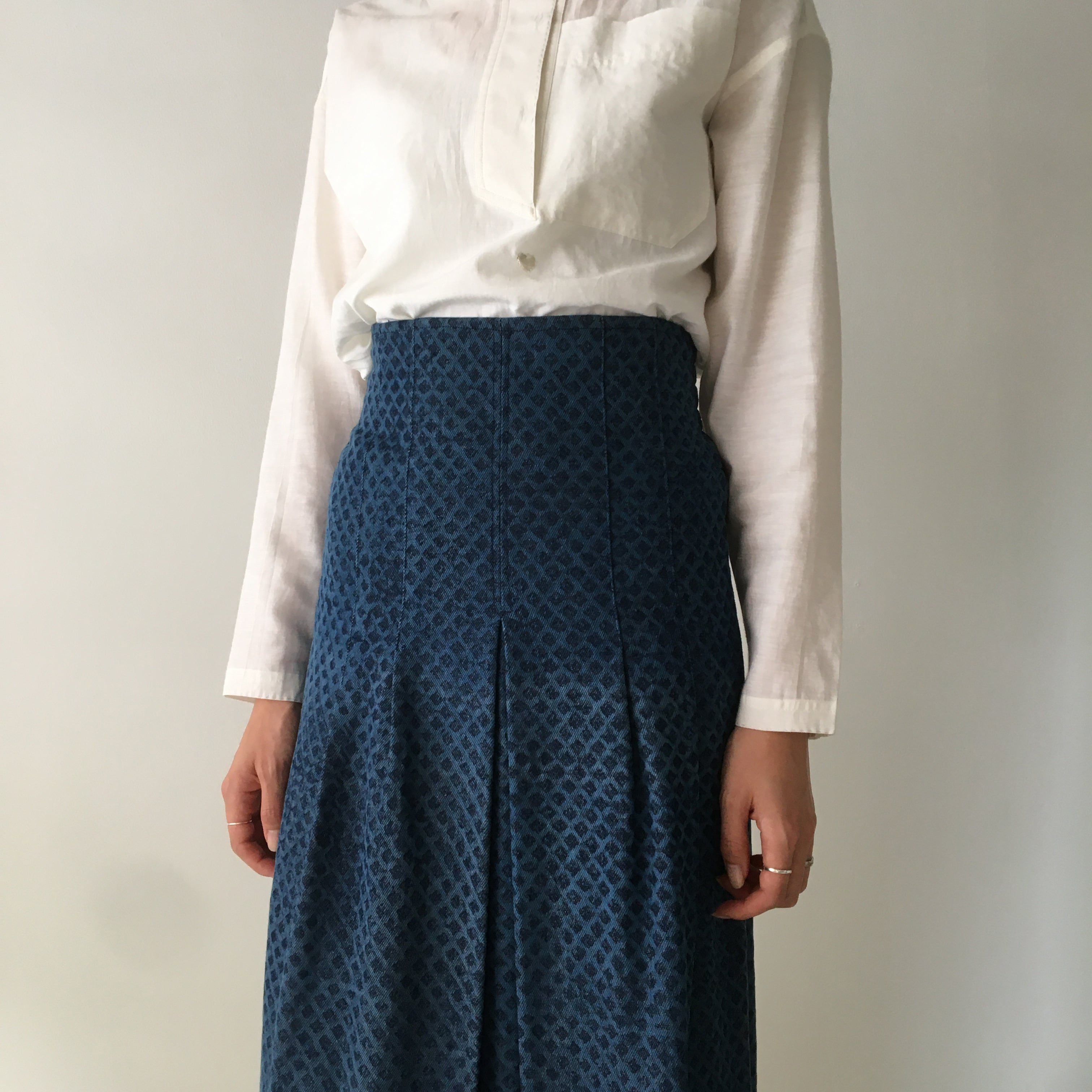 "Tight Skirt ""Block print denim"""