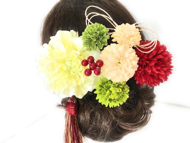 祝い花*紅白色の花簪9点セット