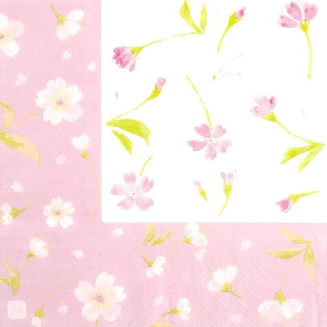 【FRONTIA】バラ売り1枚 ランチサイズ ペーパーナプキン 桜とサクラ ピンク