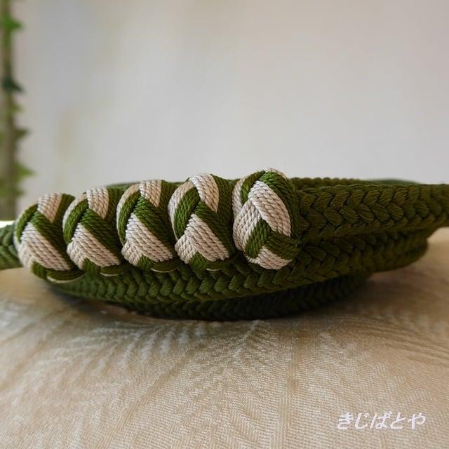 正絹 小田巻つきの丸組の帯締め 鶯色