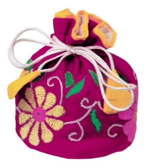 【第3世界ショップ】ミラー刺繍 ジュエリーポーチ(ピンク・赤・黒・白)