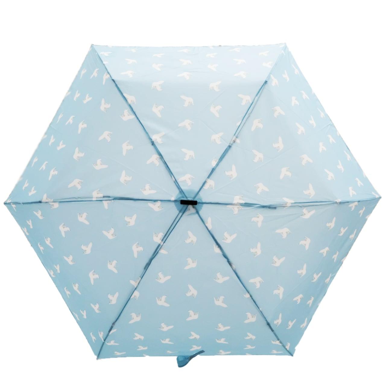 ポンポン 折り畳み傘 ライトブルー