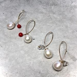 【LP-44GF】 Two way line pierced  herkimer diamond × Fresh water pearl 〈再入荷〉