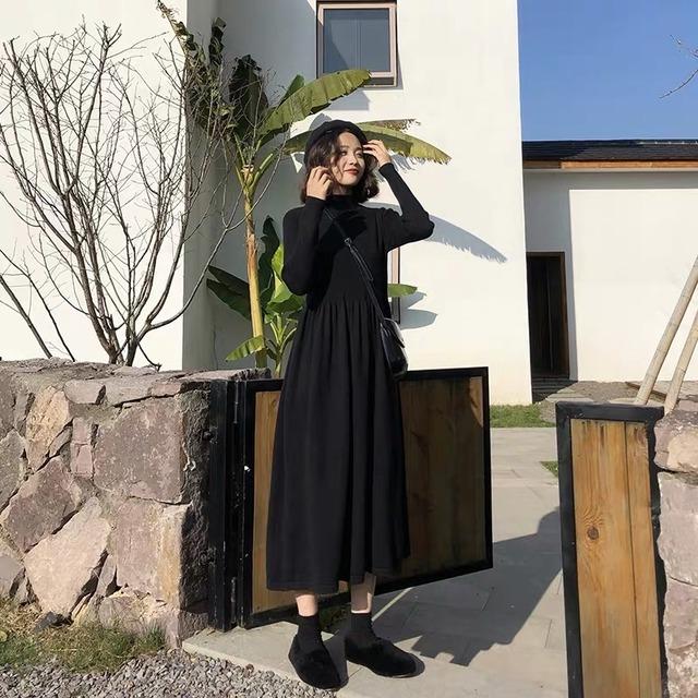 【ワンピース】好感度100% ファッション ロング Aライン 無地 ギャザー飾り ハーフネック ニットワンピース51946998