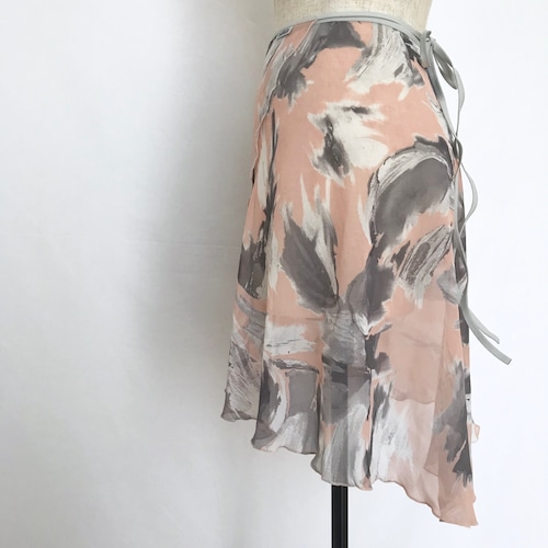 "◇""Tatiana"" Ballet Wrap Skirt - Suisai Brush・Pink [Sheer](水彩ブラッシュ・ピンク [シアー])"