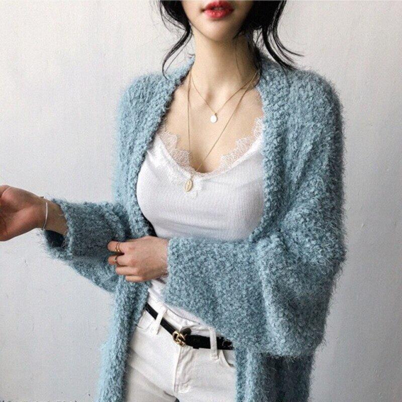 スポットインスーパー 女性 編みカーディガンコート Peacock blue