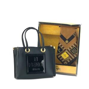 FENDI フェンディ ロゴ型押し PVC ミニバッグ ハンドバッグ ブラック ハンカチーフ vintage ヴィンテージ オールド FF vibaye