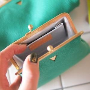 mini ウォレット/がまぐち財布 ブライトグリーン×シルバー