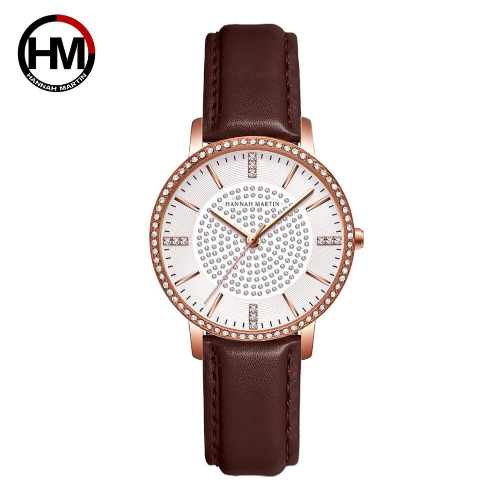 ステンレス鋼ストラップ日本運動ローズゴールドダイヤモンド女性ラインストーン腕時計女性クォーツ時計1074PZ1