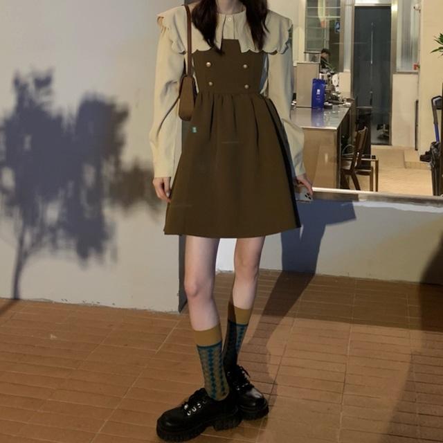 レトロガーリー♡スカラップカラーブラウス+ジャンパースカート A1036