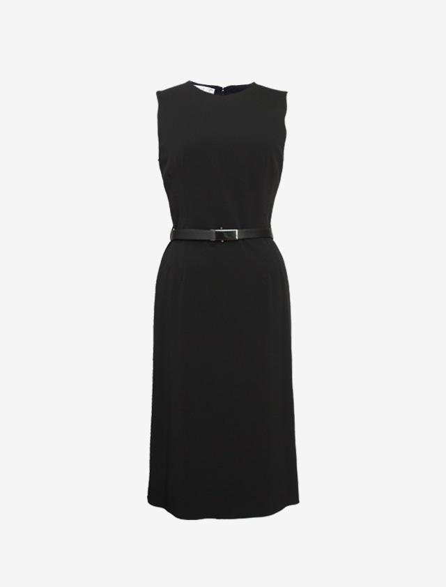 PRADA SLEEVELESS BLACK DRESS WITH BELT