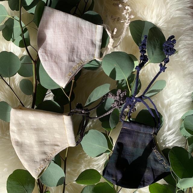 Botanical マスク&石鹸ギフト Snow Branch(外側白ドット・内側グリーン・紐チャコールグレー)