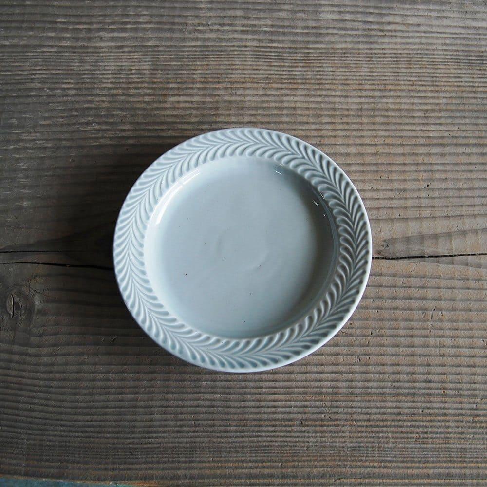 感器工房 波佐見焼 翔芳窯 ローズマリー リムプレート 皿 約18cm グレー 332747