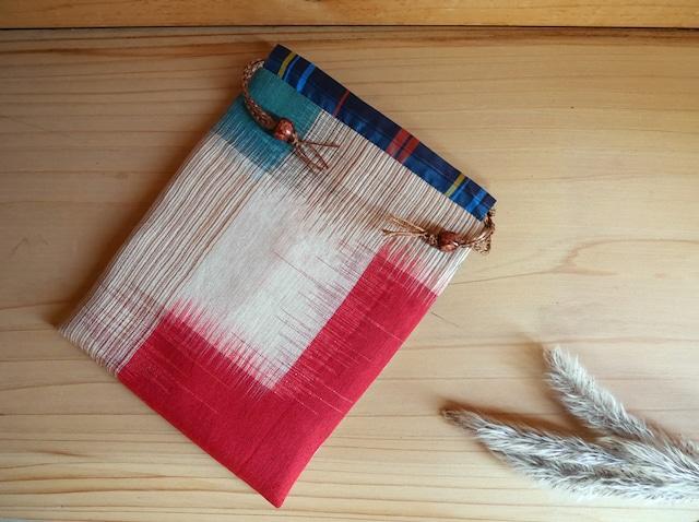赤と緑の絣の巾着(受注制作)-銘仙(古布)から