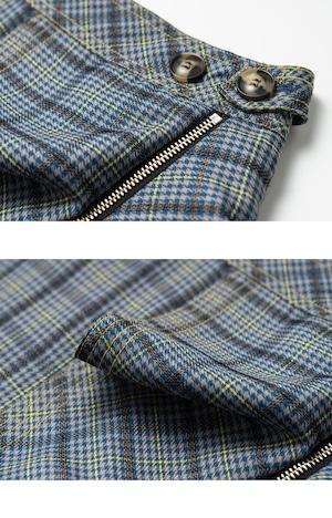 チェック柄フリルジップ付きスカート