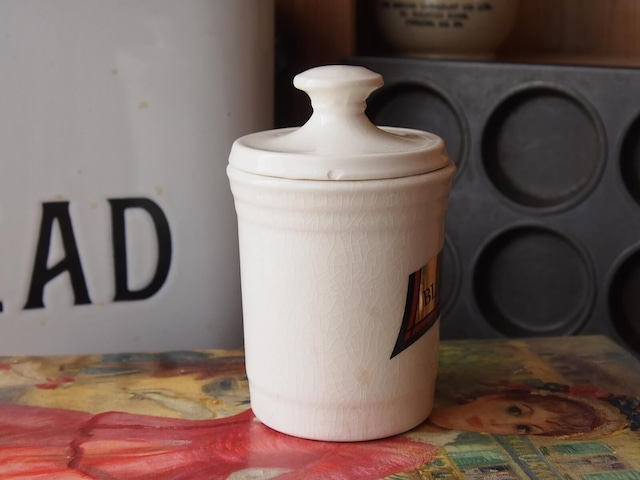 イギリスアンティーク 陶器キャニスター(BLACK PEPPER)
