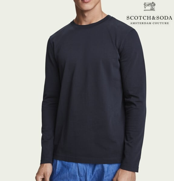 スコッチ&ソーダ SCOTCH&SODA ロンT 長袖 Tシャツ 無地 メンズ トップス 282-23402 Black