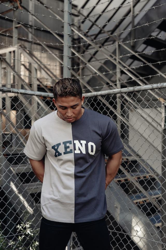 XENO SPLIT T-SHIRT BEIGE x CHARCOAL