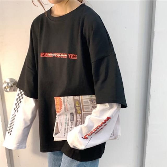 スリーブレイヤードTシャツ M-XL