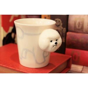 犬のはみ出し顔のマグカップ(ビションフリーゼ)【電子レンジ/食洗機対応】/浜松雑貨屋 C0pernicus