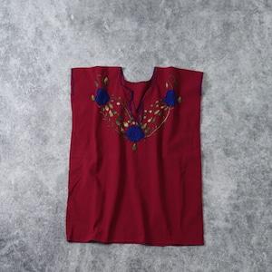 レディース INDIA製 フラワー刺繍 チュニック ブラウス アメリカ古着 コットン ワインレッド M