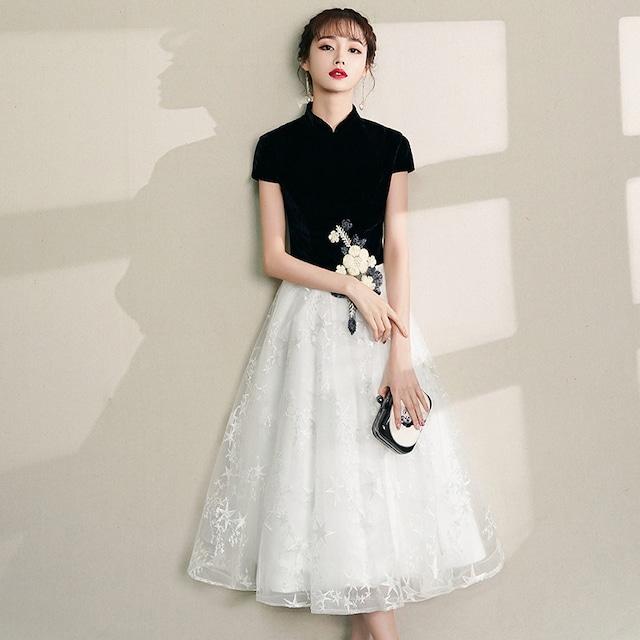 チャイナドレス 切り替え 半袖 ロング丈 成人式 大きいサイズ S M L LL 3L Aライン ベルベット チュール 刺繍 黒 白