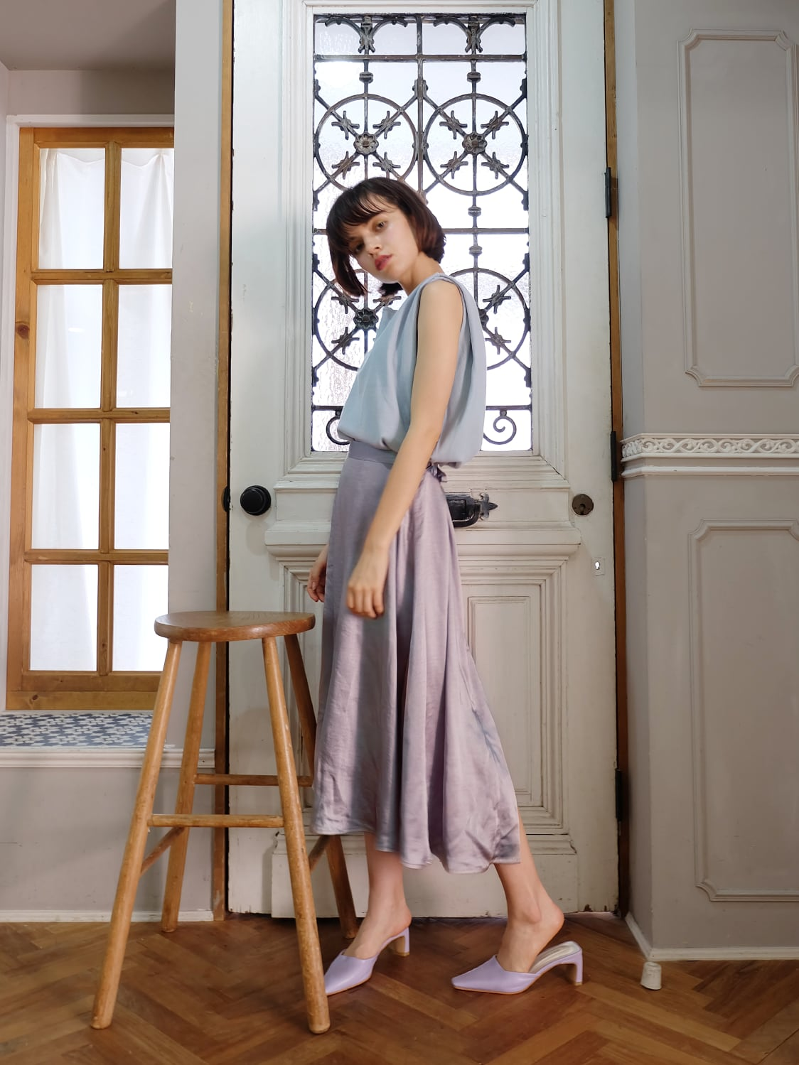 random slit satin skirt(lavender)