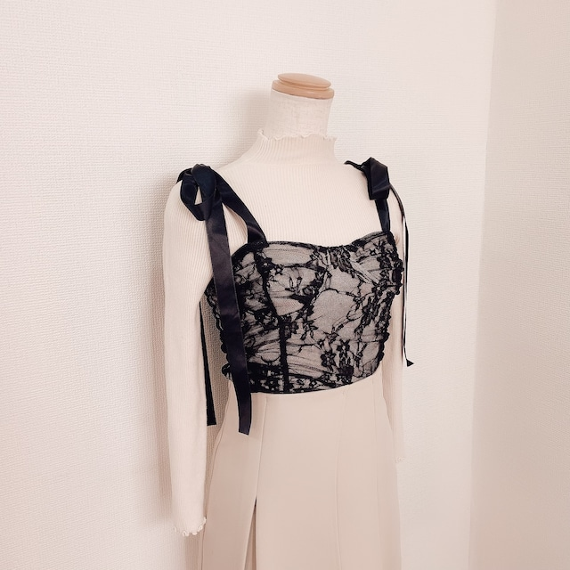 drape race camisole(Black×Pink beige)