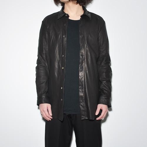 Leather Spiral Shirt 〈Black〉