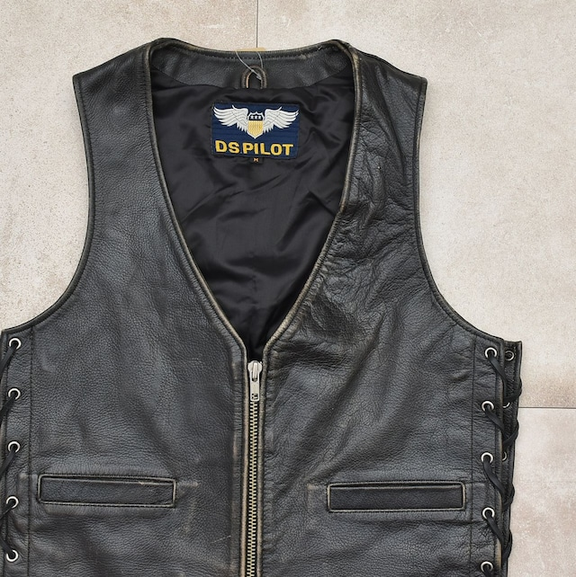 90's DS.PILOT black leather design vest