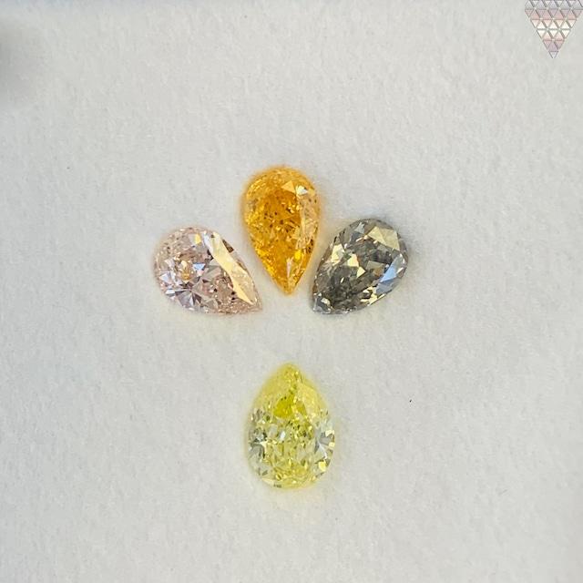合計  0.72 ct 天然 カラー ダイヤモンド 4 ピース GIA  1 点 付 マルチスタイル / カラー FANCY DIAMOND 【DEF GIA MULTI】