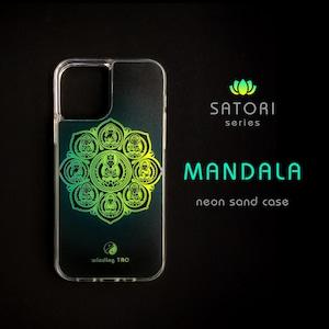曼荼羅 ネオンサンドケース[グリーン][iPhone12対応]〈仏像スマホケース〉☆暗闇で光る☆