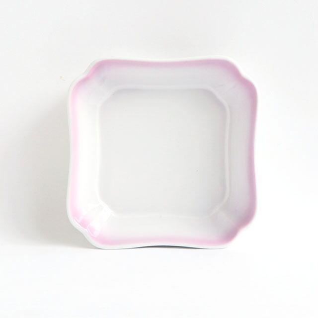 花四角小鉢(11cm) 可愛いカタチの深小皿 ぼかし紫【2050-2750】