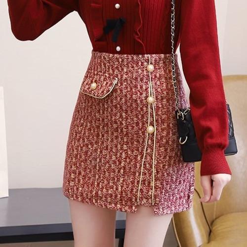 2色/パールボタンツイードスカート ・18716